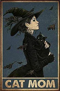 Halloween Painting, Halloween Art, Crazy Cat Lady, Crazy Cats, Image Deco, Amor Animal, Black Cat Art, Black Cats, Witch Cat