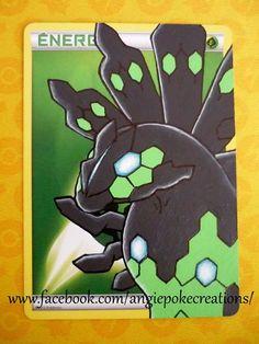 Peinture Pokemon Zygarde sur carte énergie Plante :)