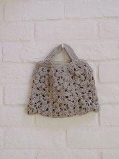 linnet crochet Pattarn リネン糸 編み図 編図 flower motif bag, would be a nice knitting bag