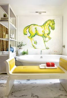 Bathroom with art. Love the painted mural