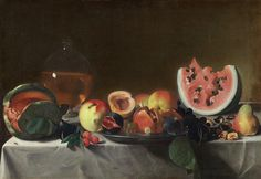 Still Life With Fruit And Carafe Painting by Pensionante Del Saraceni