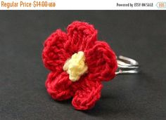 MOTHERS DAY SALE Bright Red Knit Flower Ring. Red Poppy Flower Ring. Crochet Red Flower Ring. Silver Adjustable Ring. Handmade Jewelry. by StumblingOnSainthood from Stumbling On Sainthood. Find it now at http://ift.tt/1SyPkEI!
