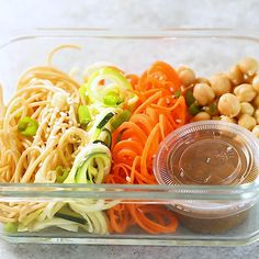 These cold sesame noodle meal prep bowls are the perfect vegan prep ahead lunch: spiralized vegetables tossed with chickpeas and whole wheat spaghetti in a spicy almond butter sauce. #sweetpeasandsaffron #vegan #mealprep #video Vegan Meal Prep, Meal Prep Bowls, Cold Sesame Noodles, Chicken Pasta Salad Recipes, Zucchini, Spicy Almonds, Breakfast Recipes, Dinner Recipes, Whole Wheat Spaghetti