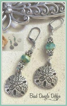 Turquoise Glass Sand Dollar Beaded Dangle Earrings #170