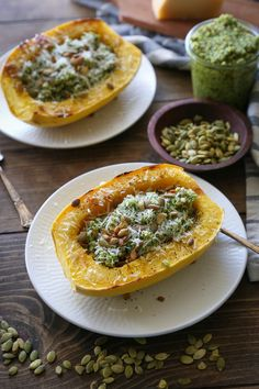 Food Photography :: Roasted spaghetti squash with homemade broccoli and pumpkin seed pesto makes for a light yet filling...   Read More → The post Spaghetti Squash with Broccoli-Pumpkin Seed Pesto appeared first on The Roasted Root.