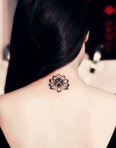 small japanese lotus flower tattoo #lotustattoo #flowertattoo #blacktattoo #necktattoo
