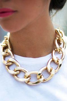 Gold necklace #gold #jewlery #style #stylizacje #blogger