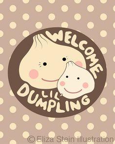 New Baby Card Little Dumpling Pink Blue or by elizasteindesigns, $4.00