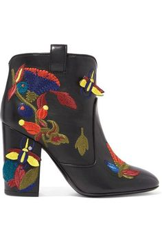 GABRIELLE'S AMAZING FANTASY CLOSET | Lawrence Dacade Embroidered Black Leather Ankle-Boot Heel measures approximately 95mm/ 4 inches  Made in Italy