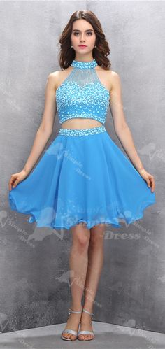 short homecoming dress, 2016 two piece homecoming dress, blue homecoming dress…