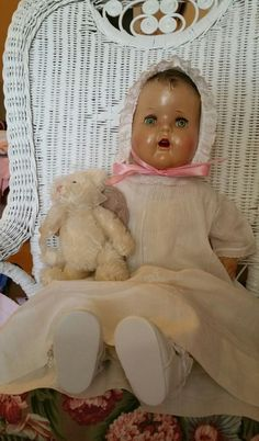 """Large Unmarked Composition Baby Doll 26"""" Tall Beautiful Aqua Tin Eyes  