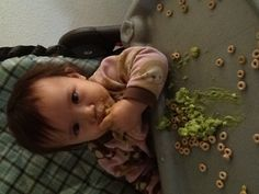 Baby eating avecodo mixed in with her cherros Baby Eating, Lunch Time, Hello Kitty, Face, The Face, Faces, Facial