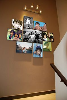 Stairwells and staircase landings can be tricky places to decorate. Love this grouping.... and if you have kids and would be worried about having glass in a spot like this, then canvases are your solution. Nothing to break!