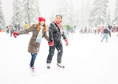 Swirling snowflakes + a skating rink +  the cutest couple! <3 this engagement session by http://bakephotography.com