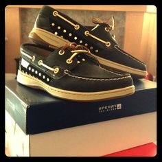 NIB Sperry Bluefish metallic black/gold top-sider Super cute! Metallic gold polka dot sperrys, Sperry Top-Sider Shoes Sneakers