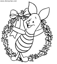 Piglet Wreath Color Page Osvalt Orsolya Disney And Other Favorite Characters Coloring Pages