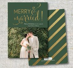 Merry and Married! A gold glittery holiday card for newlyweds!  This listing is for a 5x7 DIGITAL file (no physical item will be sent). I will