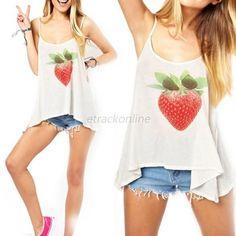 Women Summer Vest Top Short Sleeve Blouse Casual T Shirt Fruit Print Loose Tank
