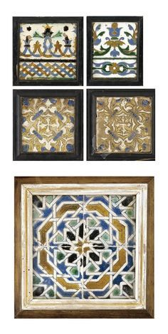 A GROUP OF ARISTA POTTERY TILES, SEVILLE AND TOLEDO, SPAIN, 1500-1575 each of square form, moulded and painted in white, blue, green, manganese and honey-brown, decorated in a variety of foliate and geometrical designs