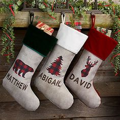 Buy Cozy Cabin Buffalo Check Personalized Christmas Stockings and add any name! Choose stocking color and one of 5 winter characters like bear, deer, moose and more. Create unique stockings for the whole family. Indoor Christmas Decorations, Diy Christmas Ornaments, Homemade Christmas, Rustic Christmas, Christmas Wreaths, Christmas Crafts, Christmas Ideas, Diy Christmas Name Tags, Christmas Pictures