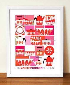 Kitchen Art, CATHRINEHOLM, Mid Century Modern, kitchen Decor, Retro Poster, Print