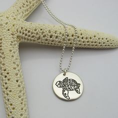 Silver Sea Turtle Necklace Engraved by IslandGirlExpression $30