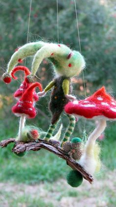 Beautiful piece of nature for your home. Needle felted pixie standing on bark. Many details. Decorated with pods and seeds and mushrooms. The bark