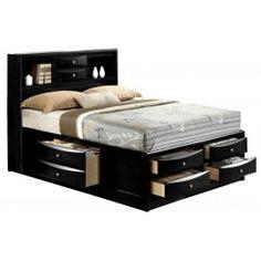 Full Bed With Storage, Storage Bed Queen, Bed Storage, Drawer Storage, Storage Headboard, Bookcase Headboard Queen, Headboard With Shelves, Bookcase Bed, Black Bookshelf