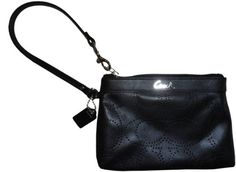 Coach Signature Perforated Leather Medium Wristlet Case Bag 45561 Black