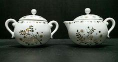 Anthropologie Creamer Pitcher Sugar Bowl White Gold Porcelain Mid Century Modern #Anthropologie