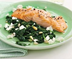 Roasted Salmon with Spinach and little feta cheese Made in little are no time