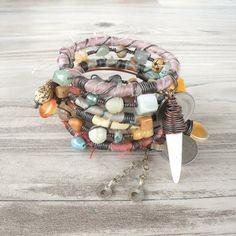 Silk Road Gypsy Bangle Stack - Havelian - 6 Bohemian Tribal Bracelets,  Silk Wrapped and Beaded