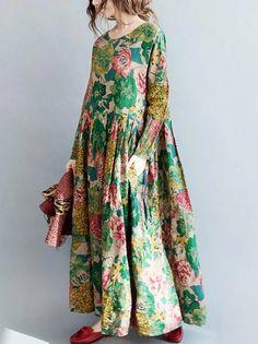 2020 Women Fashion floral print chiffon maxi dress floral print a line dress Chifon Dress, Floral Chiffon Maxi Dress, Print Chiffon, Mode Outfits, Stylish Outfits, Dress Outfits, Casual Dresses, Fashion Dresses, Hijab Style