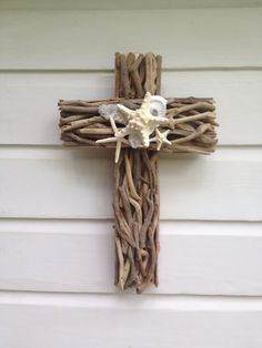 Driftwood Seashell Cross ~by My Honeypickles~