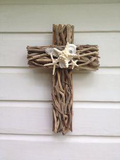 Driftwood Seashell Cross ~by MyHoneypickles~
