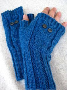 """Armstulpen """"Eule"""" petrol, handgestrickte Damen-Handschuhe, Schurwolle mit Alpaka, Handstulpen"""
