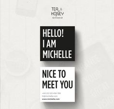 Square Business Card Black and White by TeaAndHoneyStudio on Etsy