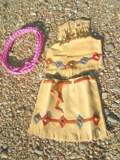 Girls Small size Leather Skirt Vest LASSO Lariat Western Outfit 2-3 yrs 0068