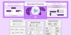An equivalent fractions PowerPoint featuring a recap of previous Year 3 teaching on the topic. This resource comes with worksheets to monitor student progress. Fractions Year 3, Fractions Ks2, Ks2 Maths, Fractions Worksheets, Equivalent Fractions, Numeracy, Primary Resources, Primary Maths, Fraction Activities