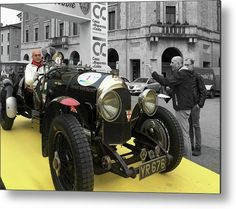 Retro Auto Bentley Metal Print by Marina Usmanskaya for home decor.    All metal prints are professionally printed, packaged, and shipped within 3 - 4 business days and delivered ready-to-hang on your wall. Choose from multiple sizes and mounting options.  #RetroBentley #Marina UsmanskayaFineArtPhotography    Italy. Ferrara. RetroAuto Bentley, 30th years.