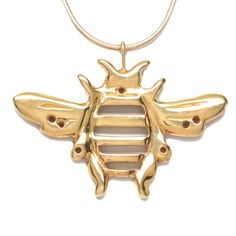 18K Gold Plated Bumblebee Pendant Necklace Artistically Sculptural Handcrafted 18 L