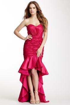 Long Strapless Wide Peplum Ruffle Trim Dress
