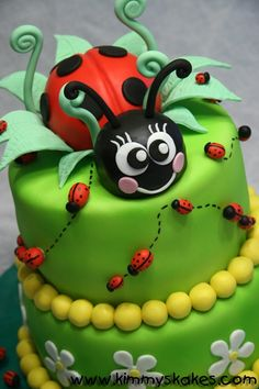 Adorable, colorful Lady Bug tiered cake.