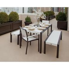 Surf City Textured Bronze 5-piece Bench Patio Dining Set With Classic White…