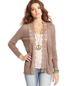 American Rag Juniors Sweater, Long Sleeve Lace Pointelle-Knit Cardigan - Juniors Sweaters - Macy's