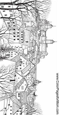 landscape buildings coloring page