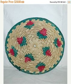 Vintage Hand Woven Coil Wall Basket,Woven Coil Bowl Basket, Boho, Boho Wall Basket, Woven Rose Design Basket, Large,10 Diameter,Red,Rosebud by JunkYardBlonde on Etsy