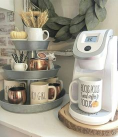DIY coffee station / coffee bar ideas - love th. - DIY coffee station / coffee bar ideas - love th. First Apartment, Apartment Living, Apartment Design, Apartment Bar, Apartment Bedrooms, Coin Café, Hot Chocolate Bars, Chocolate Chocolate, Tiered Stand