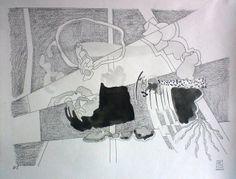Dessin 2014 - Numéro 7 Février Graphite et aquarelle sur papier Canson CA grains 180 gr  25 x 32,5 cm