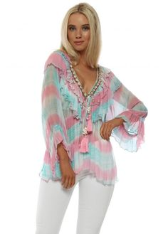 8390370bf922 This Laurie and Joe aqua and pink tie dye top embellished with shells is  absolutely stunning!